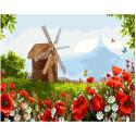 Деревянная мельница, картина по номерам на холсте 40х50см 27цв Original