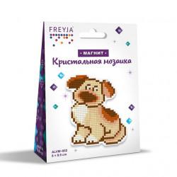 Собачка, кристальная мозаика магнит 8x9,5см, полное заполнение Фрея