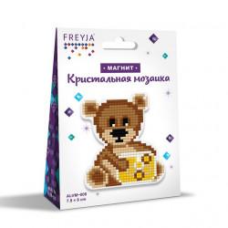 Медвежонок, кристальная мозаика магнит 8x7,5см, полное заполнение Фрея