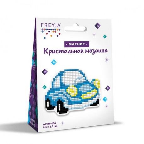 Машинка, кристальная мозаика магнит 8,5x6,5см, полное заполнение Фрея