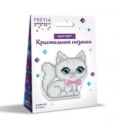 Котенок с бантом, кристальная мозаика магнит 9x9см, полное заполнение Фрея