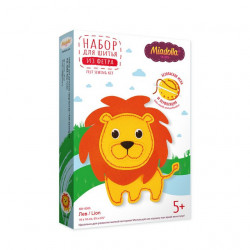 Лев, набор для шитья игрушки из фетра (пластиковая игла и перфорация на фетре)