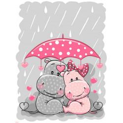 Счастье под зонтом, набор для раскрашивания по номерам на картоне 30х40см