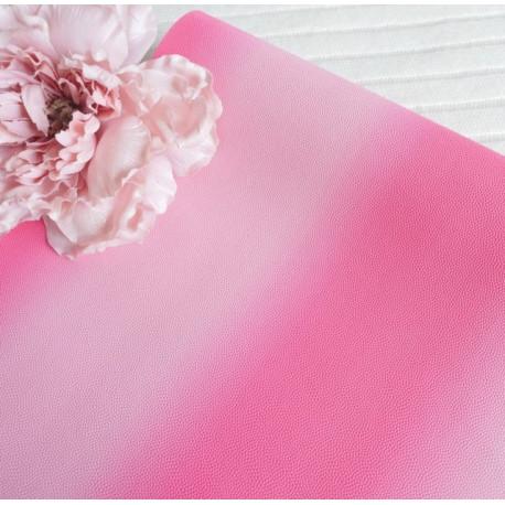 Розовый градиент, кожа искусственная 33х69(±1см) толщина 1мм