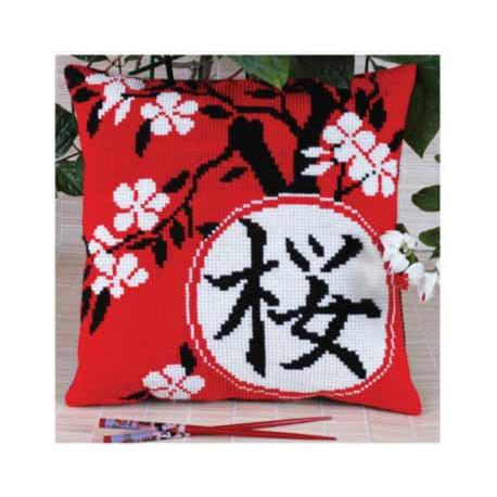 Сакура(подушка), набор для вышивания крестиком, 36х36см, 3цвета Panna