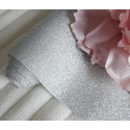 Серебро, глиттерная ткань для творчества 33х70(±1см)