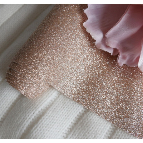Розовое золото, глиттерная ткань для творчества 33х70(±1см)