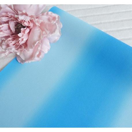Синий градиент, кожа искусственная 33х69(±1см) толщина 1мм