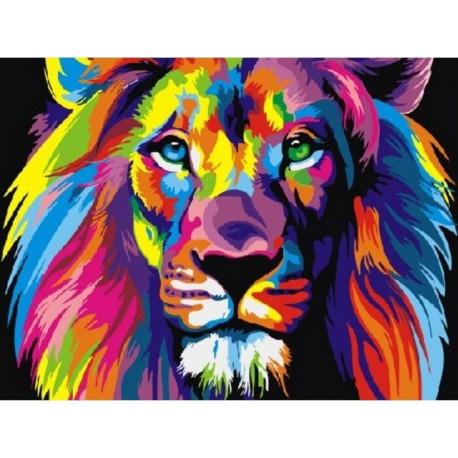 Радужный лев, картина по номерам на холсте 30х40см 19цв Original