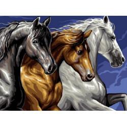 Лошади, раскраска по номерам на холсте 30х40см 18цв Original