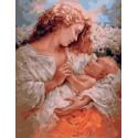 Мама и малыш, картина по номерам на холсте 40х50см 28цв Original