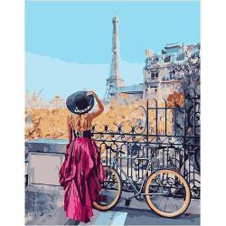 Велосипедный маршрут по Парижу, раскраска по номерам на холсте 30х40см цв Планета Картин