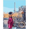 Велосипедный маршрут по Парижу, картина по номерам на холсте 30х40см 20цв Original