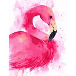 Розовый фламинго, раскраска по номерам на холсте 40х50см 20цв Планета Картин
