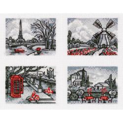 Прогулки по Европе, , набор для вышивания крестиком, 15,5х12см, 8цветов Panna