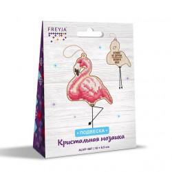 Фламинго, кристальная мозаика подвеска на деревянной основе 8,5x10см, полное заполнение Фрея