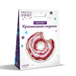 Пончик, кристальная мозаика магнит 9x9см, полное заполнение Фрея