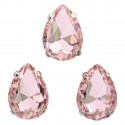 Розовый капля, стразы стеклянные в серебряных цапах 13х18мм 3шт Астра