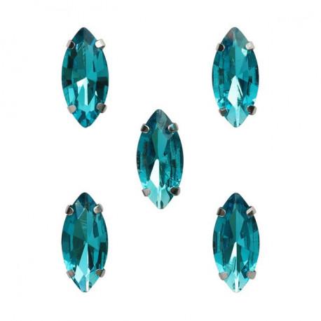 Голубой миндаль, стразы стеклянные в серебряных цапах 7х15мм 5шт Астра