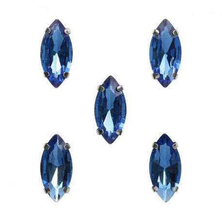 Синий миндаль, стразы стеклянные в серебряных цапах 7х15мм 5шт Астра