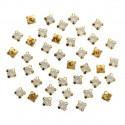 Белый опал круглые, стразы стеклянные в золотых цапах 6мм 40шт Астра