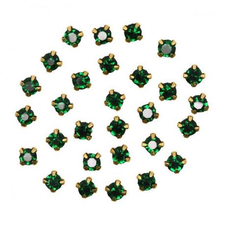 Бирюзовый круглые, стразы стеклянные в золотых цапах 6мм 40шт Астра