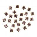 Св.розовый круглые, стразы стеклянные в золотых цапах 6мм 40шт Астра