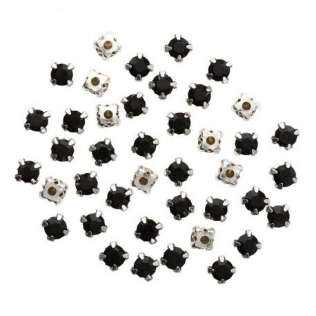Черный круглые, стразы стеклянные в серебряных цапах 6мм 40шт Астра