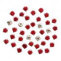 Красный круглые, стразы стеклянные в серебряных цапах 6мм 40шт Астра