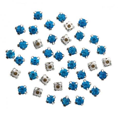 Синий круглые, стразы стеклянные в серебряных цапах 6мм 40шт Астра