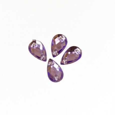 Фиолетовый капля, стразы акриловые пришивные 6х10мм 18шт Астра