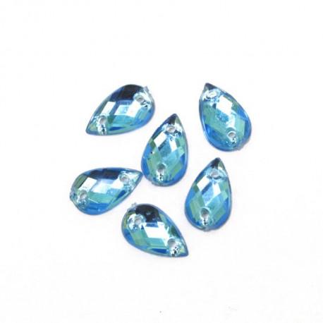 Голубой капля, стразы акриловые пришивные 6х10мм 18шт Астра