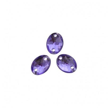Фиолетовый овальные, стразы акриловые пришивные 6х8мм 20шт Астра