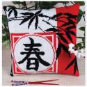 Весна(подушка), набор для вышивания крестиком 36х36см 3цвета Panna