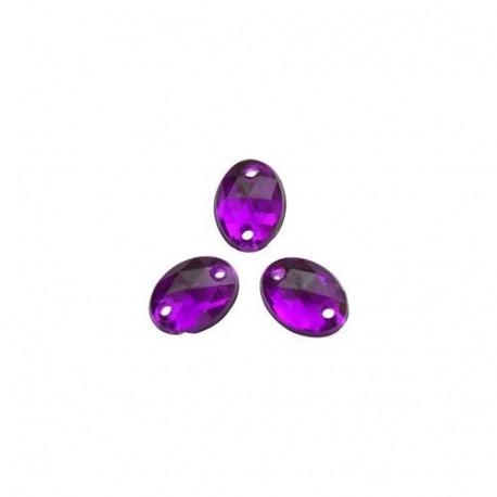 Пурпур овальные, стразы акриловые пришивные 6х8мм 20шт Астра