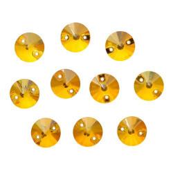 Желтый круглые, стразы стеклянные пришивные 10мм 10шт Астра