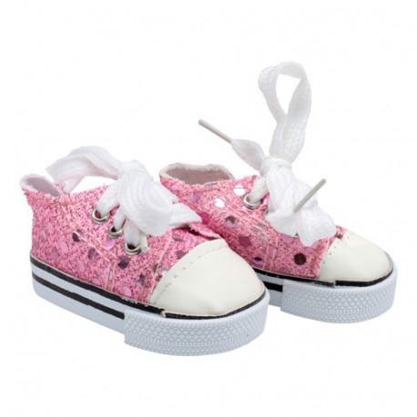 Кеды розовые с пайетками, длина стопы 7см. Кукольная обувь