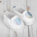 Мокасины с серебрянным сердечком, длина стопы 7см. Кукольная обувь