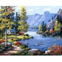 Домик у озера, картина по номерам на холсте 40х50см 29цв Original