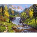 Горный ручей (Прищепа Игорь), картина по номерам на холсте 40х50см 31цв Original