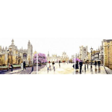 Прогулки по площади, картина по номерам на холсте Триптих 3шт 50х50см 43цв Original