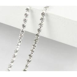 Белый, цепочка из стеклянных страз в цапах(серебро) 2мм SS06, 1м