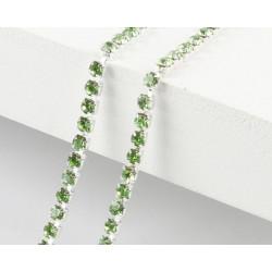 Зеленый, цепочка из стеклянных страз в цапах(серебро) 2мм SS06, 1м