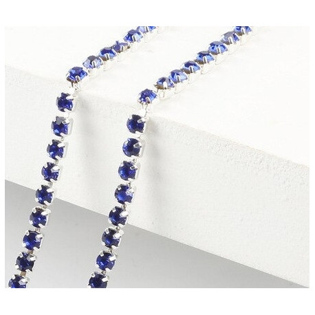Синий, цепочка из стеклянных страз в цапах(серебро) 2мм SS06, 1м