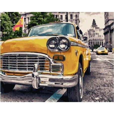 Ретро-такси, картина по номерам на холсте 40х50см 28цв Original