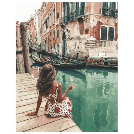 На венецианском причале, картина по номерам на холсте 40х50см 28цв Original