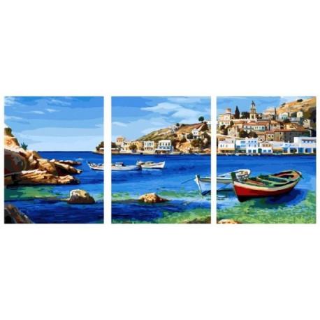 Средиземноморская бухта, картина по номерам на холсте Триптих 3шт 40х50см 39цв Original