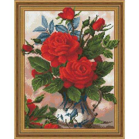 Алые розы, набор для изготовления картины стразами 3D 40х50см 29цв полная выкладка