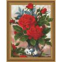 Алые розы, набор для изготовления картины стразами 3D 40х50см 29цв полная выкладка PO
