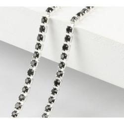 Черный, цепочка из стеклянных страз в цапах(серебро) 2мм SS06, 1м